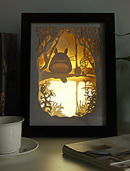 12W 23*23*6CM Christmas Present Novel 3 D Sketch Paper Carving Lamp Creative Mural Frame Lamp Light Led