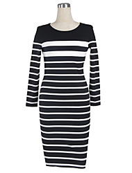 Women's Bodycon / Work Striped Dress , Round Neck Knee-length Cotton