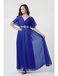 A-line Mother of the Bride Dress Floor-length Chiffon with Beading / Split Front
