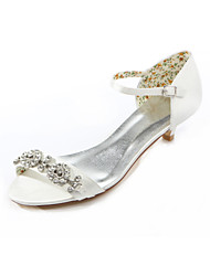 Women's Summer Heels / Round Toe Silk Wedding / Dress / Party & Evening Low Heel Crystal Ivory