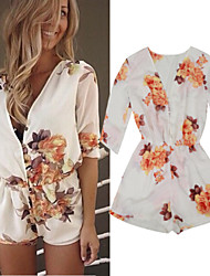 Women's Sexy Print  Thin ¾ Sleeve Shorts Jumpsuits with Buttons