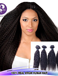 Top Quality Brazilian Kinky Straight Virgin Hair 4Bundles Coarse Yaki Human Hair Extensions Light Yaki Straight Hair