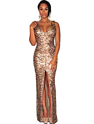 Women's Sequined Front Slit Padded Maxi Gown