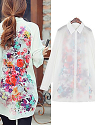 Women's White/Green Long Sleeve Flower Print Chiffon Long Blouse