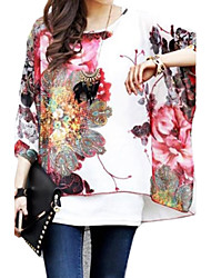 Zian Women's Flower Print Loose Blouse & Vest,Round Neck
