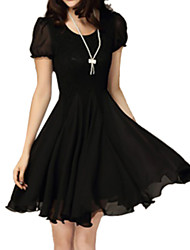 Women's Vintage Casual Lace Plus Sizes Micro-elastic Short Sleeve Above Knee Dress (Chiffon Lace)