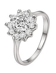 HKTC Fashion Series 18k White Gold Plated Sunflower Clear Cz Diamond Valentine's Day Gift Ring