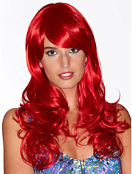 Long Curly Hair European Weave Red Color Hair Wig