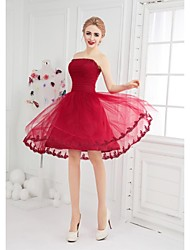 Cocktail Party Dress - Burgundy Ball Gown Bateau Short/Mini Tulle