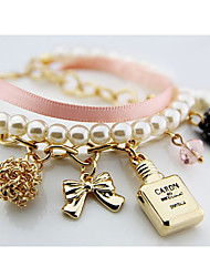 South Korea Fashion Women'S Pearl Perfume Bottle Alloy Bracelet