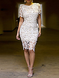 Women's Solid Color White Dresses , Lace Round Short Sleeve