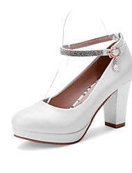 Women's Shoes PU Summer / Fall Heels / Round Toe Office & Career / Casual Chunky Heel Sparkling Glitter / Buckle Blue / Red / White