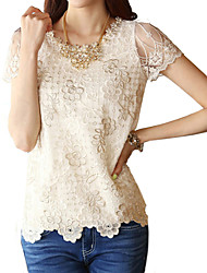 Women's Lace Beige Blouse, Vintage Round Neck Short Sleeve Lace Crochet And Beaded