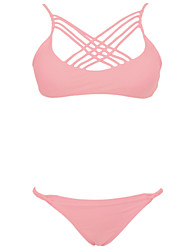 Women's Sexy Straped Solid Lace-up Bikinis Pink