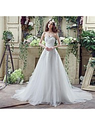 Wedding Dress - White Court Train Sweetheart / Tulle