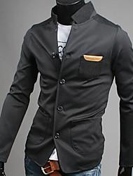 Men's Solid Work Blazer,Polyester Long Sleeve Black / Blue