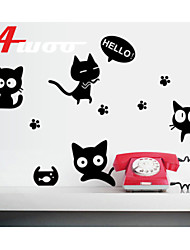 AWOO® New Design Cartoon Wall Stickers Home Decor Vinyl Black Cats Stickers For Kids Room Decoration
