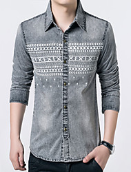 Men's Fashion Print Water Washed Slim Long-Sleeve Denim Shirt