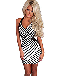 Women Mini Dress Striped Print Color Block Halter Plunge V Sleeveless Sexy One-Piece