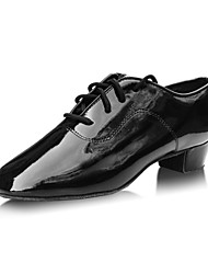 Non Customizable Men's / Kids' Dance Shoes Latin Leather Low Heel Black / Red
