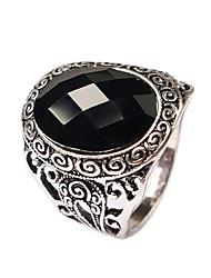 Women's Luxury Palace Retro Style Oval Multi-slice Alloy Jewels Ring
