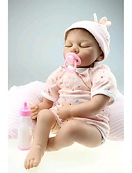 NPKDOLL Reborn Baby Doll Soft Silicone 22inch 55cm Magnetic Mouth Lovely Lifelike Cute Boy Girl Toy Sleeping Pink