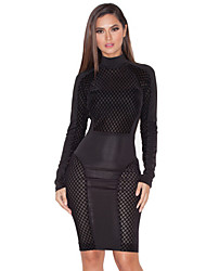 Women's Sexy Club Solid Bodycon Dress , Crew Neck Knee-length