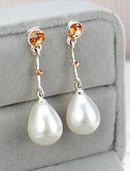 925 silver long Pearl Diamond Drop Earrings