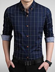Masculino Camisa Casual / Escritório / Tamanhos Grandes Xadrez Manga Comprida Algodão / PoliésterAzul / Marrom / Vermelho / Branco /