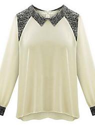 Women's Solid White / Black Blouse , Peter Pan Collar Long Sleeve
