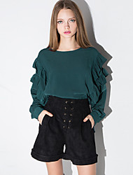 Spring Women's Loose Comfortable Retro Flounced Round Neck Long Sleeve Green Blouse Tops