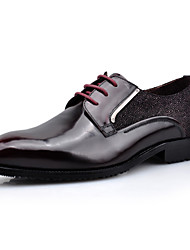 Men's Shoes Wedding / Office & Career / Casual Leather Oxfords Black / Burgundy
