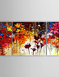 Oil Painting Modern Flowers by Knife Set of 3 Hand Painted Canvas with Stretched Framed