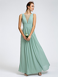 Lanting Bride® Ankle-length Georgette Bridesmaid Dress Sheath / Column Scoop with Criss Cross / Ruching