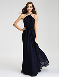 Sheath / Column Halter Floor Length Chiffon Bridesmaid Dress with Beading Crystal Detailing Ruffles by LAN TING BRIDE®