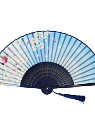 Japanese Silk Folding Hand Fans - 1 Piece/Set Hand Fans Floral Theme Blue
