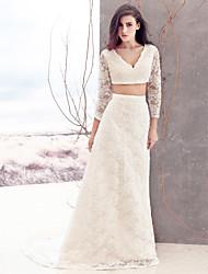 Sheath/Column Wedding Dress-Ivory Sweep/Brush Train V-neck Lace