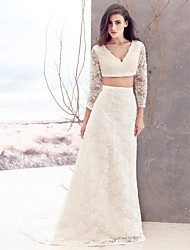 Lanting Bride Sheath/Column Wedding Dress-Sweep/Brush Train V-neck Lace