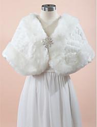 Wraps Wedding Mantelline Senza maniche Pelliccia ecologica Bianco Matrimonio Da sera Con strass Con fermaglio