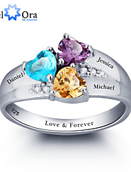 Noble Personalized Colorful Heart Stone Promise Ring 925 Sterling Silver Cubic Zirconia Ring For Women