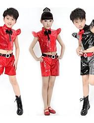 Jazz Outfits Unisex Prestatie Polyester Pailletten 3-delig Zwart / Rood Jazz Neckwear / Bovenkleding / Shorts