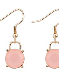 Wild Temperament Simple Crystal Pink Rose Quartz Pendant Earrings