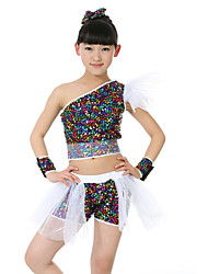 Jazz Outfits Kid's Cotton Fiber Sequin 4 Pieces Sleeveless Dropped Tops Bracelets Shorts