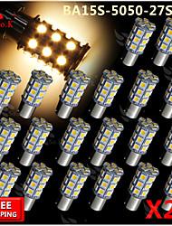 20x BA15s blanc chaud 1156 RV Marche 27 ampoules de signal tour de la lumière à l'arrière de la voiture LED SMD