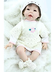 NPKDOLL Reborn Baby Doll Soft Silicone 22inch 55cm Magnetic Mouth Lovely Lifelike Cute Boy Girl Toy White Outfits