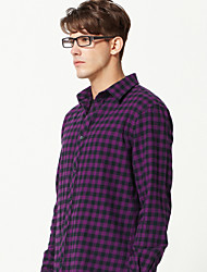 JamesEarl Men's Shirt Collar Long Sleeve Shirt & Blouse Purple - M61XC001018
