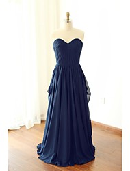 Floor-length Chiffon Bridesmaid Dress - A-line Sweetheart with Draping