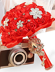 Luxury Ribbon Rose Flower Wedding Bouquet with Crystal for The Bride Holding Flowers (39*18cm)
