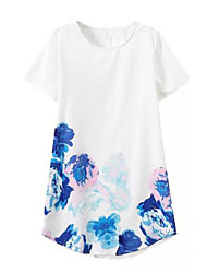 Women's Floral White Blouse , Round Neck Short Sleeve