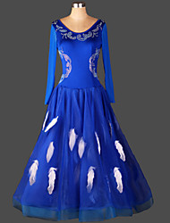 Ballroom Dance Dresses Women's Performance Chinlon / Organza Crystals/Rhinestones 1 Piece Blue Modern Dance Dress